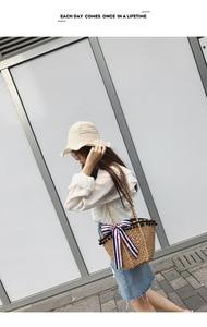 Image 2 - New straw wrapped scarf decoration black beads Hawaiian style single shoulder slanting lady bag