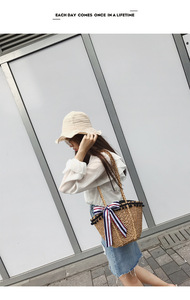 Image 2 - ใหม่ฟางห่อผ้าพันคอตกแต่งลูกปัดสีดำสไตล์ฮาวายเดี่ยว shoulder slanting lady กระเป๋า