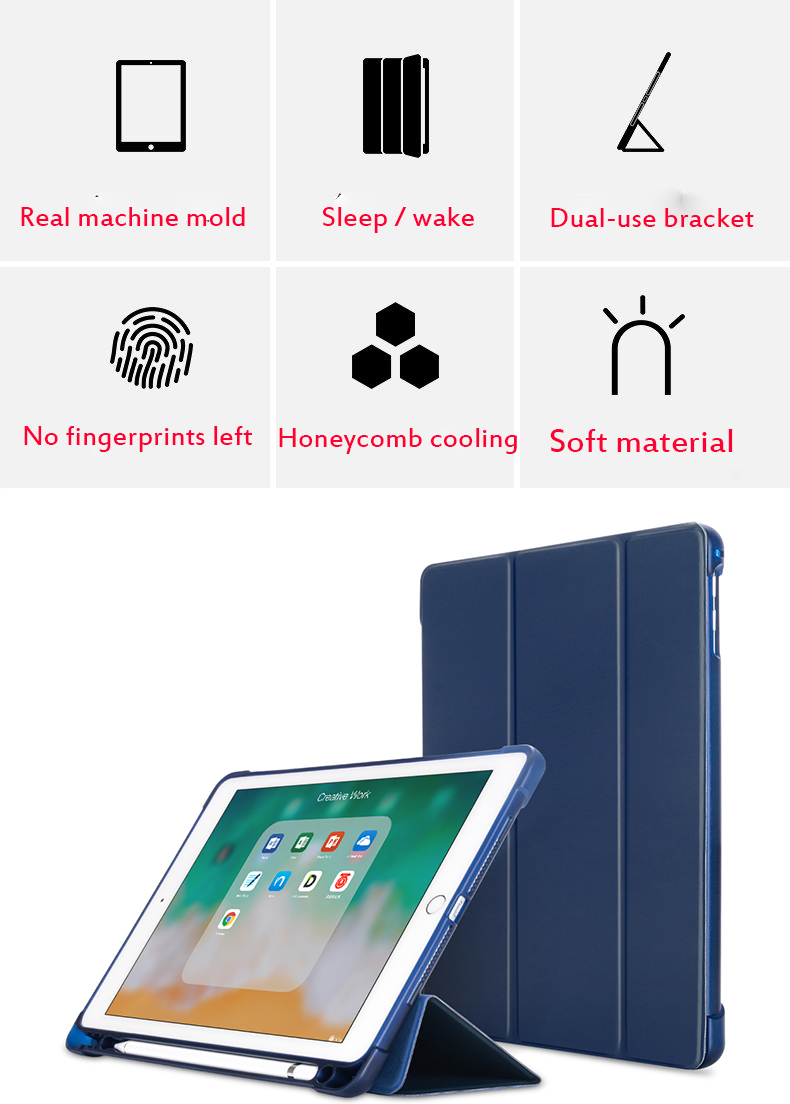 For iPad 10 2 inch 7th Gen 2019 A2198 Case With Pencil Holder Slim Tri fold