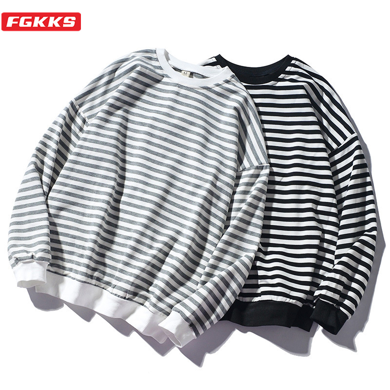 FGKKS Trend Brand Men Stripe Sweatshirt Tops Men's Fashion Wild Comfortable Hoodies O-Neck Casual Sweatshirts