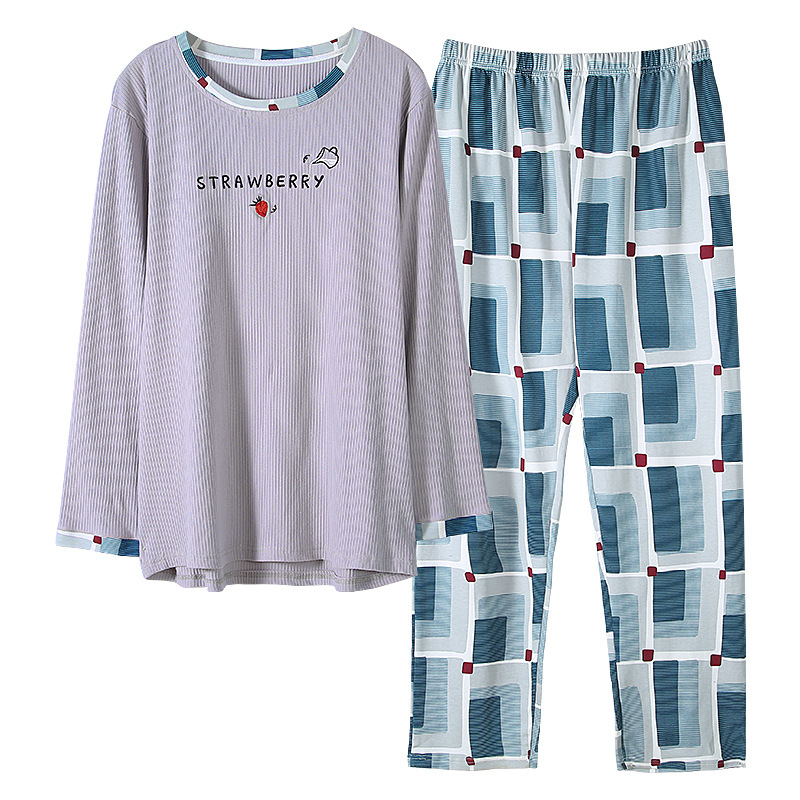 Pajamas Outside-Wear Home-Clothes Cotton Large-Size Men's Long-Sleeved Spring And Autumn