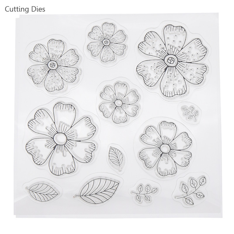Flowers Leaves Petals Transparent Clear Stamps DIY Scrapbooking Photo Album Decorative Embossing Rubber Background Stamps