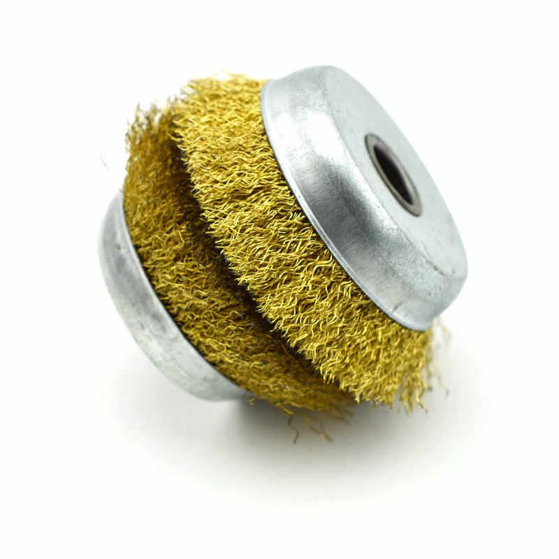 5 個研削ワイヤーカップブラシ圧着強化鋼毛鋼線ホイールブラシアングルグラインダー研磨ツール 3 インチ