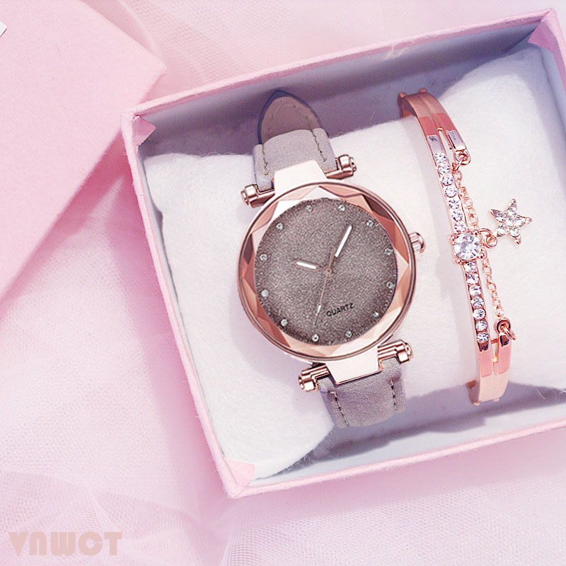 Casual Women Romantic Starry Sky Wrist Watch bracelet Leather Rhinestone Designer Ladies Clock Simple Dress Gfit  Montre Femme 2