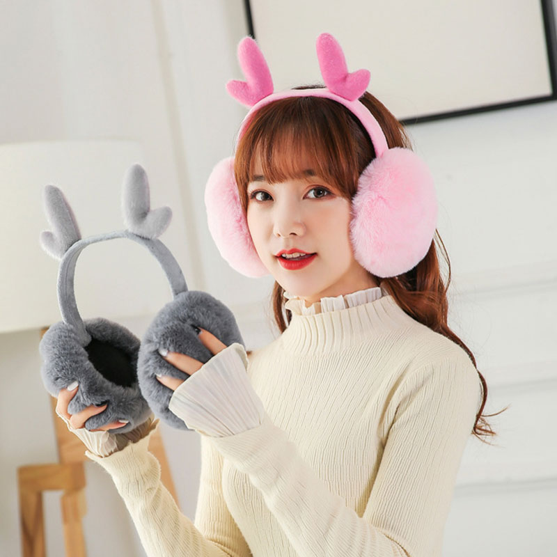 New Fashion Women Winter Thick Warm Plush Fluffy Ear Cover Creative Antler Folding Earmuffs Sweet Cute Pink Cache Oreille