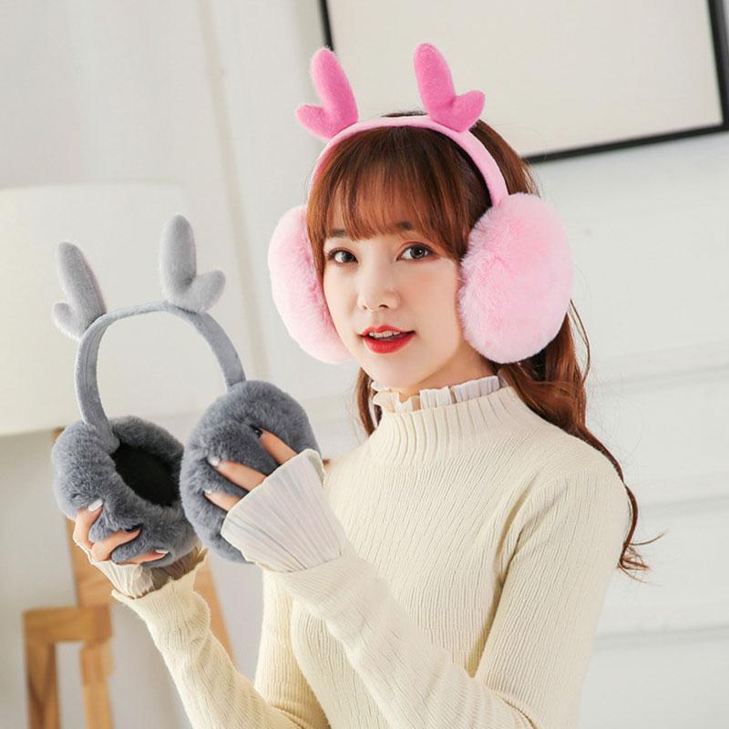 New Fashion Women Winter Thick Warm Plush Fluffy Ear Cover Creative Antler Folding Earmuffs Sweet Cute Pink Cache Oreille