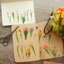 36pcs Natural Colorful Tulip Garden Style PVC Sticker Scrapbooking DIY Gift Packing Label Decoration Tag