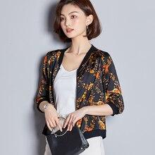 Autumn Silk Women Jacket Floral Half Sleeve Jackets Baseball Black Short Plus Size XXXL Female