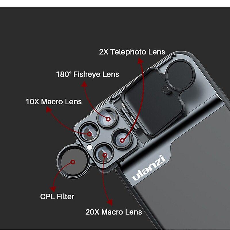 Image 4 - Ulanzi 5 in 1 Phone Lens Case Kit 20X Super Macro Lens CPL  Fisheye Telephoto Lens for iPhone 11 Pro Max Pixel 4 4XLMobile Phone  Lens