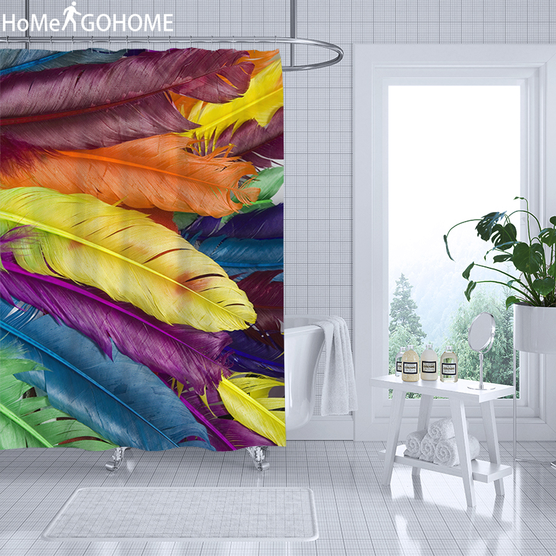 Feather Printed Waterproof Shower Curtain 3D Curtains For Bathroom Shower Colorful Fabric Curtain For The Bath cortina de ducha in Shower Curtains from Home Garden