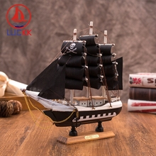 LUCKK 24CM Handmade Wooden Pirate Of The Caribbean Sailing Boat Model Home Decor Figurines Crafts Nautical Children Toys Gifts