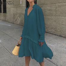 Fashion Ruffle Midi Dress Women's Summer Sundress ZANZEA Casual Puff Sleeve Patchwoek Vestidos Female V Neck Robe Plus Size 5XL