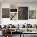 Wand Drucke Abstrakte Retro Schwarz Gold Holz Kunst Poster 3D Baum Ring Radial Linien Nordic Leinwand Bild Home Room Decor gemälde