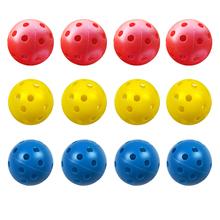 GOG piłki golfowe z tworzywa sztucznego Whiffle przepływu powietrza Hollow treningowe pole golfowe sportowe akcesoria do golfa piłki dla dzieci Childrem grania w piłki 12 sztuk 4CM tanie tanio Golf Balls Puppets golf balls yellow