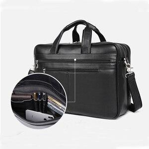 """Image 3 - سعة كبيرة سوداء رجال الأعمال حقيبة الكمبيوتر لينة جلد طبيعي 17 """"حقيبة يد كمبيوتر محمول الذكور جلد البقر لماك بوك برو الهواء 17"""