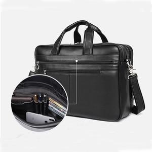 "Image 3 - Large Capacity Black Men Business Computer Briefcase Soft Genuine Leather 17"" Laptop Handbag Male Cowhide For Macbook Pro Air 17"