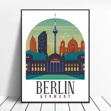 Retro Vintage Berlin lienzo impresión pared arte cartel cuadro moderno dormitorio Sala decoración sin marco