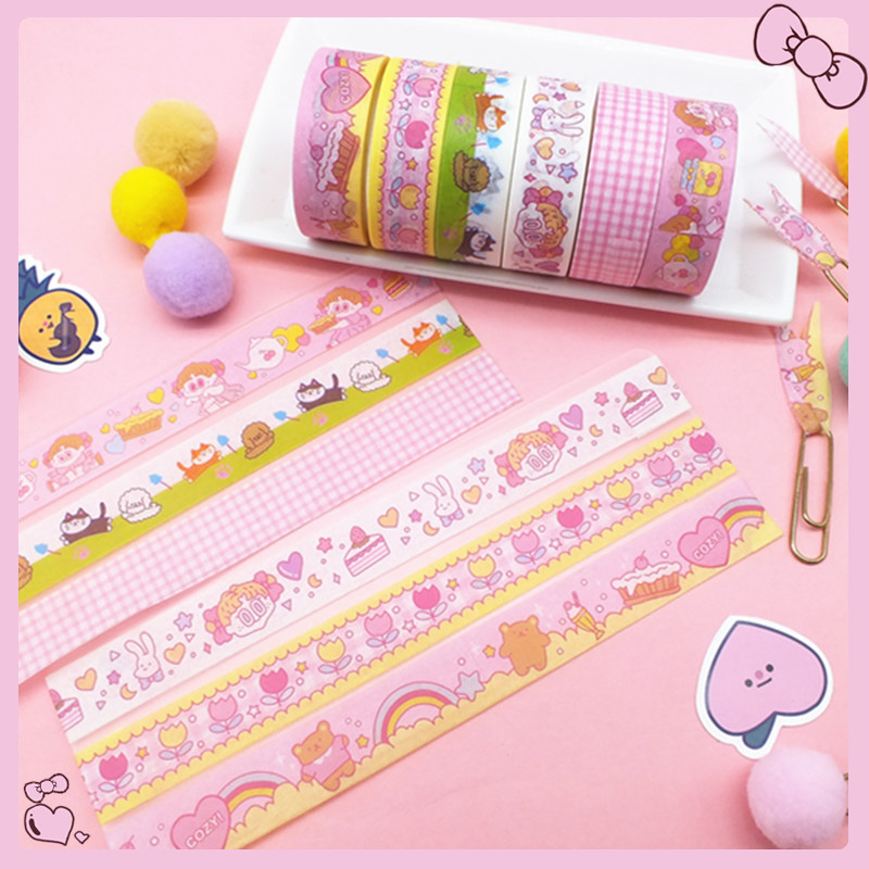 1Pc Kawaii Adhesive Tape Cute Cartoon Washi Tape Decor Masking Tapes For Kids Scrapbooking DIY Supplies Stationery