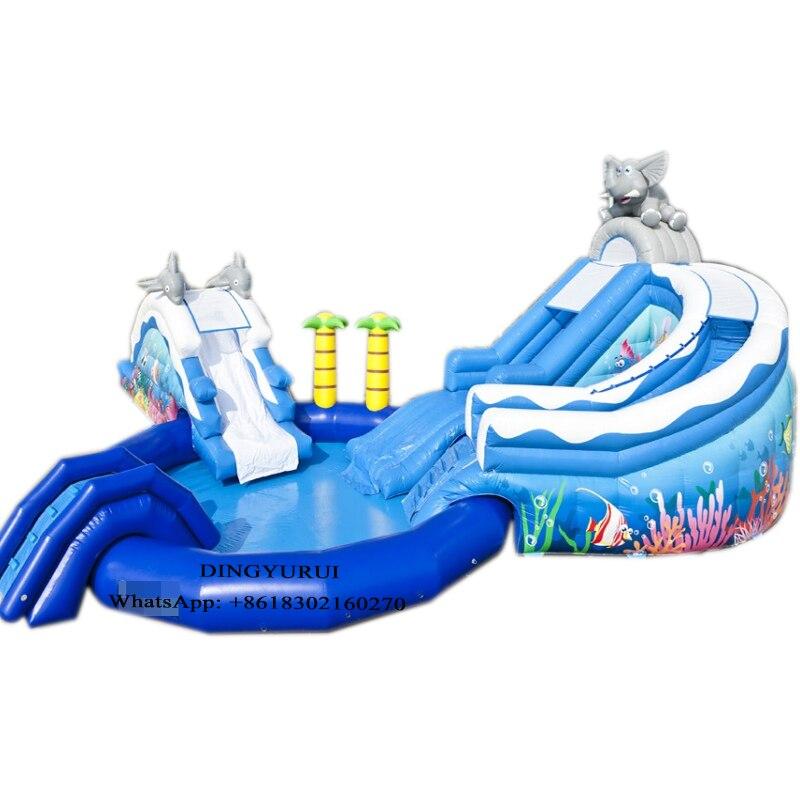 Corrediça Inflável com Piscina De Água Golfinho Tropical ao ar livre do Parque de Diversões Para As Crianças