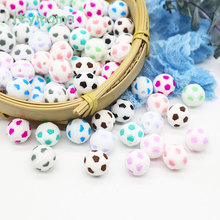 10pc Silicone Beads Baby Teether Football Teething Beads Pacifier Chain Pendant