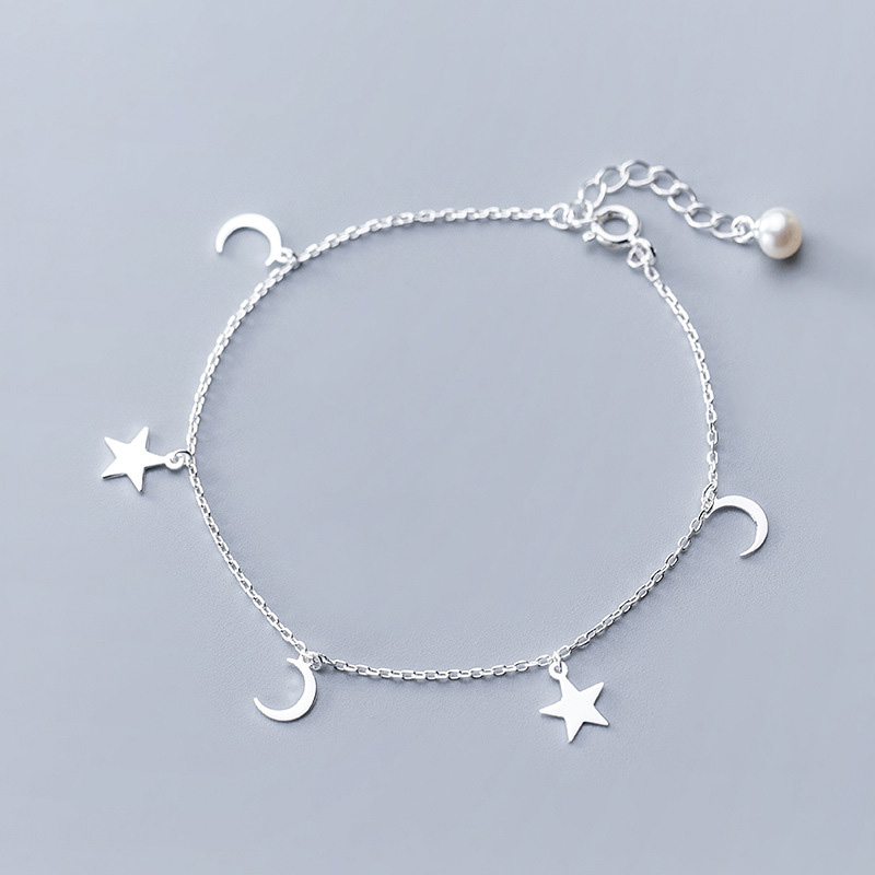 Silver 925 jewelry Pearl Ankle Bracelets For Women Moon Star Charm Link Chain Anklets Foot jewelry Luxury Pearls Cute Anklets