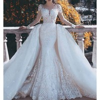 Gorgeous White Lace Wedding Dress with Detachable Train Illusion Long Sleeve Mermaid Wedding Gowns robe de mariee