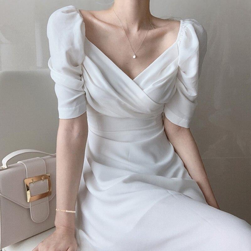 Korean Style Chic Ulzzang Women Dress Summer 2020 Female Short Sleeve Sexy V-neck High Waist A-line Ladies Dresses Vintage Ropa