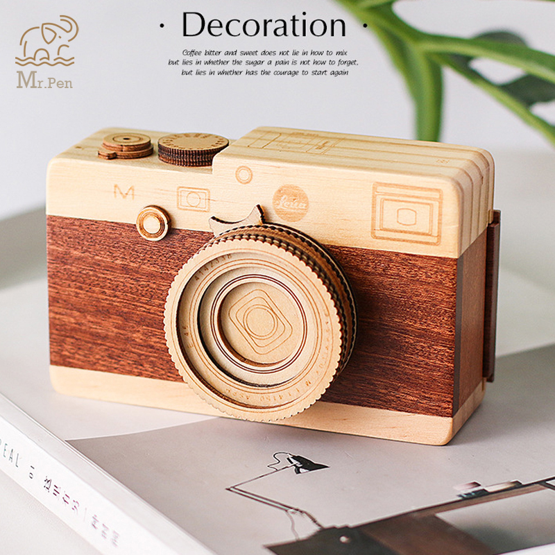 Retro Camera Shape Pen Holder Wooden Music Box Home Office Desk Decoration Makeup Brushes Pencil Organizer Wood Crafts Gifts