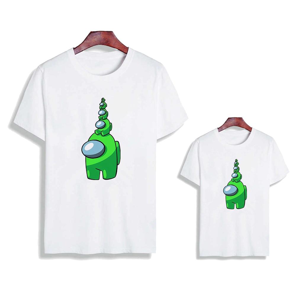 Famille Look drôle dessin animé imposteur Parents enfants T-shirt montant nous graphique T-shirt jeu vidéo Anime Strretwear T-shirt Hip Hop haut