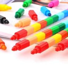 Blocs de construction créatifs, Crayon Graffiti Kawaii pour peinture, papeterie coréenne pour enfants, 2 pièces de 12 couleurs