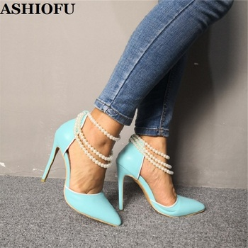 ASHIOFU Handmade Ladies High Heel Pumps String-beading Sexy Party Dress Shoes Real-photos Evening Prom Fashion Court Shoes