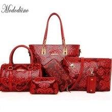 Mododiino Women Composite Bag Luxury Leather Purse And Handbags Shoulder High Quality Crossbody 6pcs Set DNV1191
