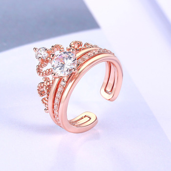 Fashion 925 Sterling Silver Rings Rose Gold Zircon Drill Hollow Crown Diamond Rings for Women Wedding Engagement Jewelry Gifts 2