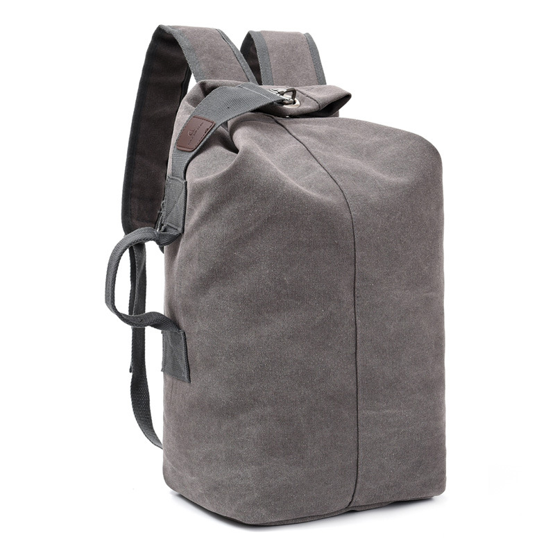 Canvas Backpack MEN'S Backpack New Style Large Capacity Backpack Casual Lan Qiu Bao Bucket Bag Outdoor Mountain Climbing