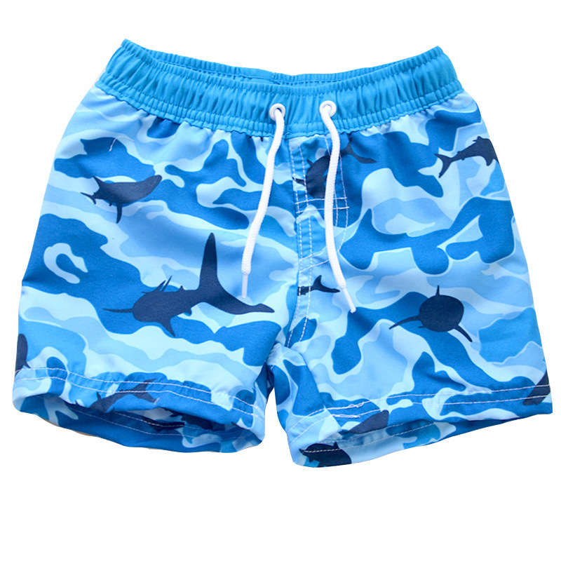 2019 New Style KID'S Swimwear Big Boy Blue Camouflage Lace-up Cute Boy Beach Shorts Hot Springs Swimming Trunks