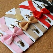 2,5x65 см 1 комплект унисекс мешковины подтяжки и галстук-бабочка набор для детей девочек подтяжки для мальчика+ галстук-бабочка модные аксессуары