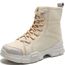 Sneakers Women 2019 New Short Boots Female Autumn Beige Martin Canvas Womens Single High Top Shoes