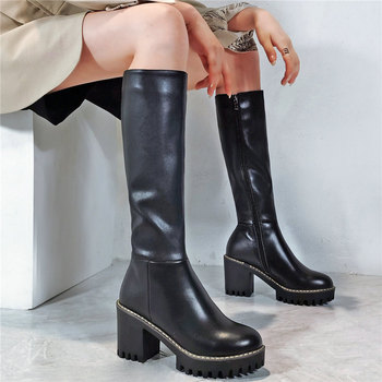 Thigh High Riding Boots Women Genuine Leather Chunky High Heels Mid Calf Motorcyle Boots Female Round Toe Platform Pumps Shoes split toe genuine cow leather ankle boots women round chunky high heels short boots shoes ninja tabi boots