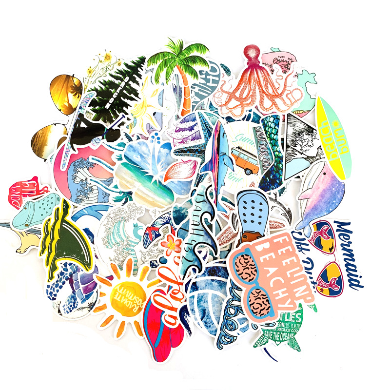 50 PCS Outdoor Surfing Stickers Summer Sports Tropical Beach Surfing Waterproof Stickers To DIY Surfboard Car Skateboard Sticker