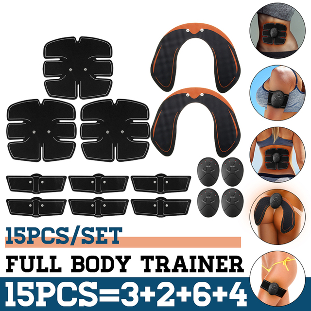 15 개/대 EMS 근육 복부 트레이너 스마트 무선 근육 ABS 엉덩이 복부 근육 자극기 마사지 세트 체중 감소