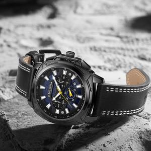 Image 4 - Megir Casual Sport Horloges Voor Mannen Zwart Top Merk Luxe Militaire Lederen Polshorloge Man Klok Fashion Chronograph Horloge