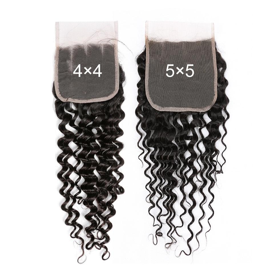 Yyong 4X4&5x5 Closure With Bundles 8-30inch  Deep Wave Bundles With Closure  3/4pcs Hair  Bundles With Closure 5