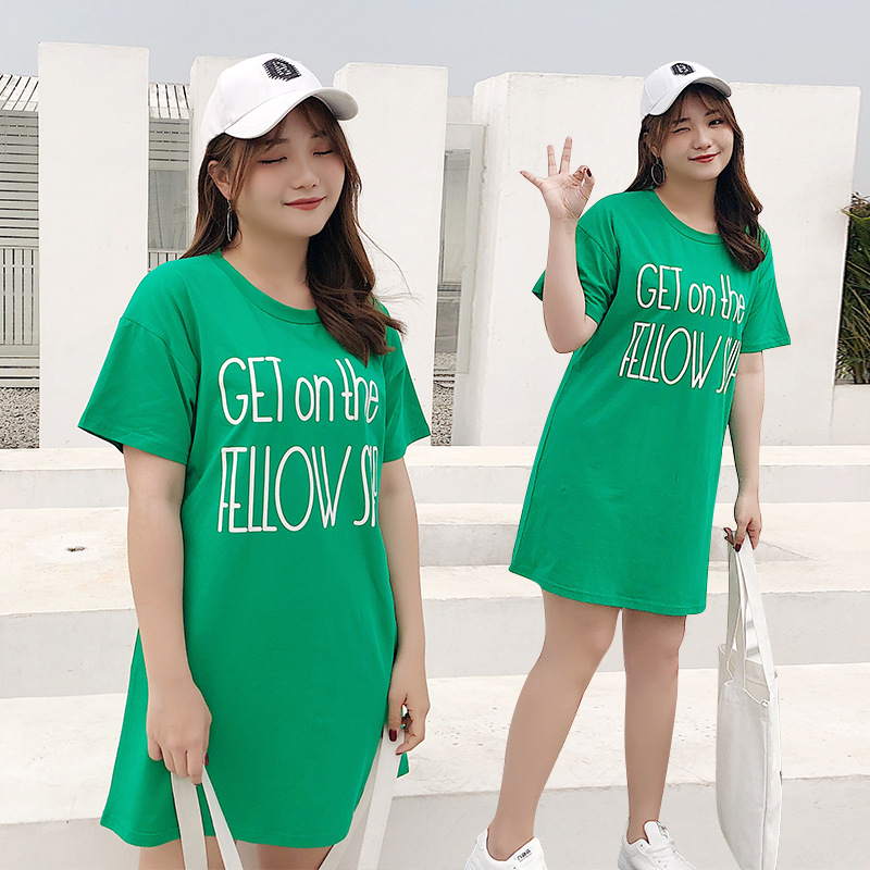 Large Size Dress Fat Mm Summer T-shirt Short-sleeve Dress Korean-style Belly Covering By Age Waist Hugging Mid-length Skirt 631
