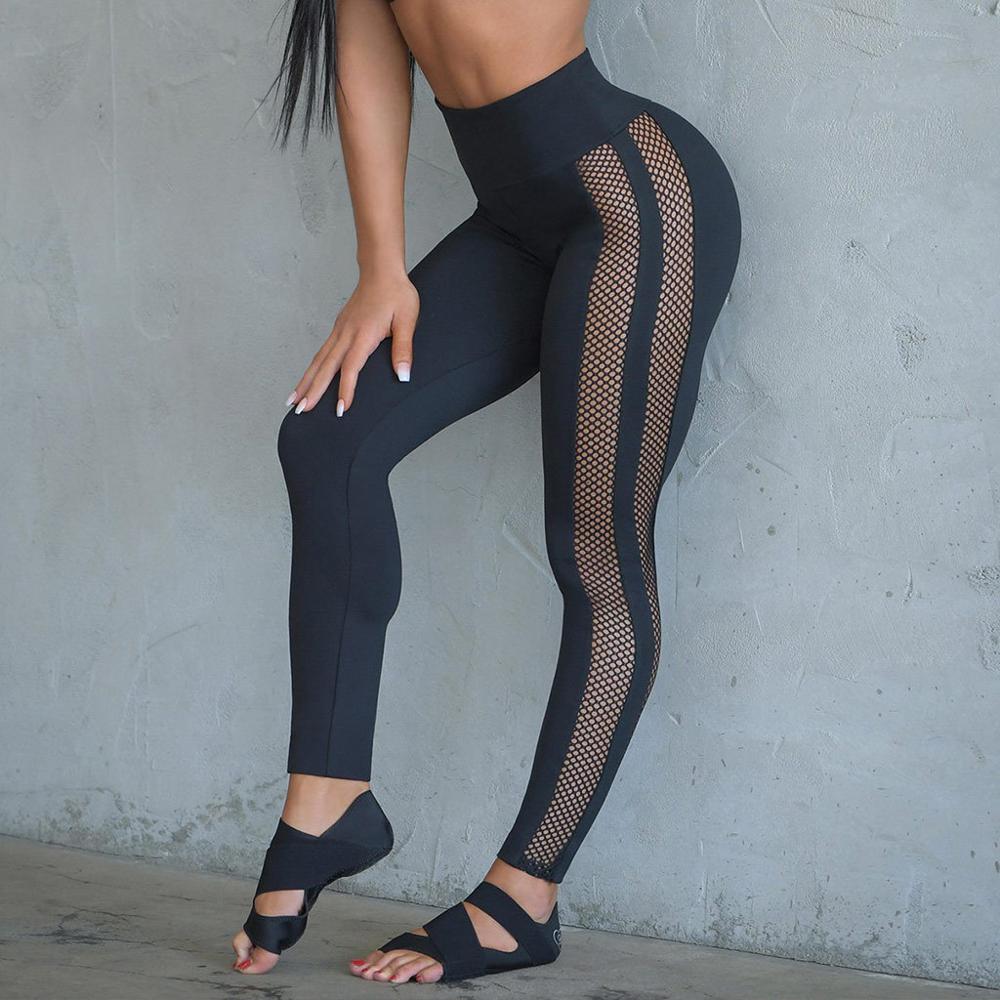Zhangyunuo Elastic Mesh Sport Leggings Gym Running Fitness Yoga Pants Workout Gym Tights Jogging Femme Sportswear