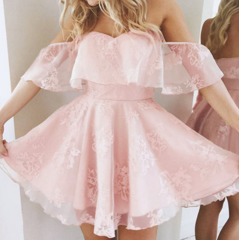 Short Pink Lace Homecoming Dresses Off Shoulder Short Sleeves A Line Graduation Party Dress Junior Gown In Stock