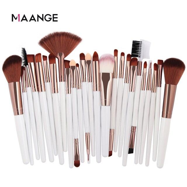 MAANGE 25pcs Makeup Brushes Set Beauty Foundation Power Blush Eye Shadow Brow Lash Fan Lip Concealer Face MakeUp Tool Brush Kit