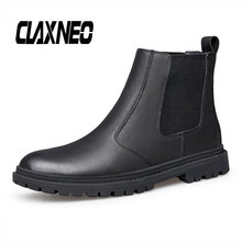 CLAXNEO Mans Chelsea Boots Genuine Leather Male Shoes Slip on clax Mens Boot Winter Shoe Fur Warm Big Size