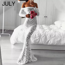 JULY Off Shoulder Maxi White long Dress 2019 Summer Mesh Bodycon Sequin Women Strapless Party Sexy  Fishtail dress Vestido