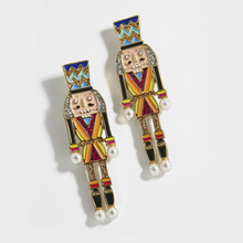 Unique Enamel Nutcracker Drop Earrings For Women Fashion Multicolor Crystal Statement Earrings Jewelry Christmas Gifts