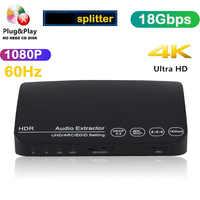 UHD 18gpbs compatible con HDMI ARC interruptor arco Audio Extractor divisor 1x3 digitales 4k 1080p 3d 60hz HDR HDCP para Ps4 Ps3 a Hdtv Av